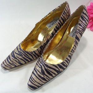 NEW, Blue Gold Zebra Stripe Low Heel Pump Size 12W